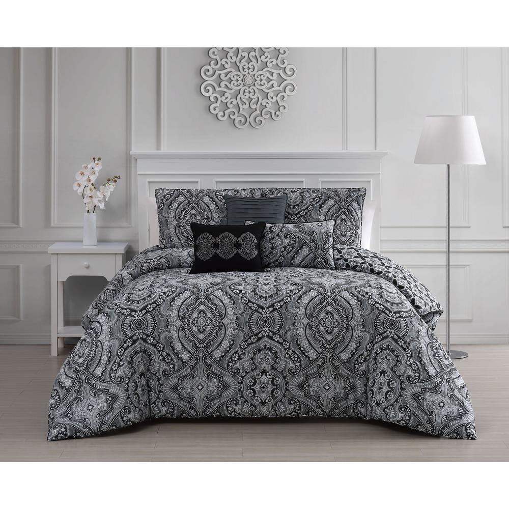 f3227e0786 Kari 6-Piece Black/White Queen Comforter Set KRI6CSQUENGHBW - The ...
