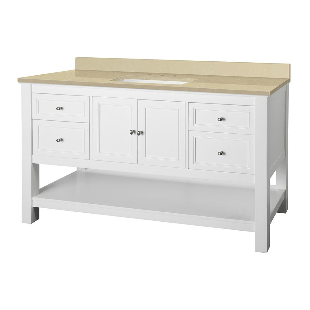 Home Decorators Collection Gazette 61 in. W x 22 in. D Vanity in White with Engineered Marble Vanity Top in Crema Limestone with White Sink was $1259.0 now $881.3 (30.0% off)