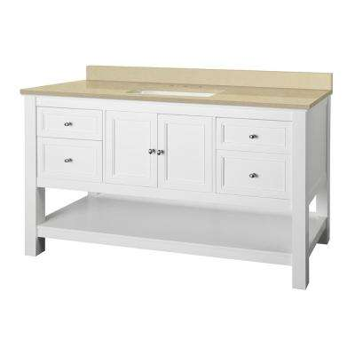 Gazette 61 in. W x 22 in. D Vanity in White with Engineered Marble Vanity Top in Crema Limestone with White Sink