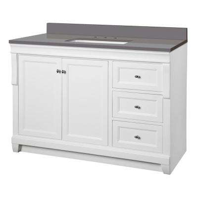 Naples 49 in. W x 22 in. D Vanity Cabinet in White with Engineered Marble Vanity Top in Slate Grey with White Basin