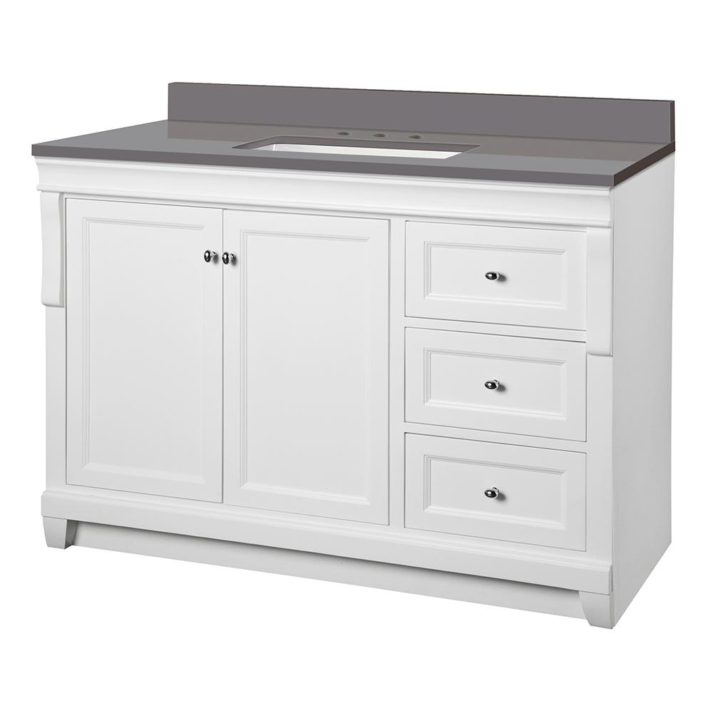 Home Decorators Collection Naples 49 in. W x 22 in. D Vanity Cabinet in White with Engineered Marble Vanity Top in Slate Grey with White Basin was $999.0 now $699.3 (30.0% off)