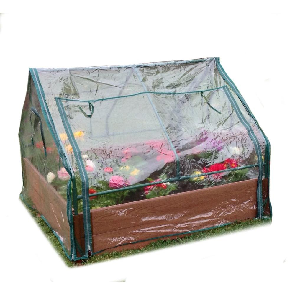 Frame It All One Inch Series 4 ft. x 4 ft. x 11 in. Composite Raised Garden Bed Kit with Greenhouse