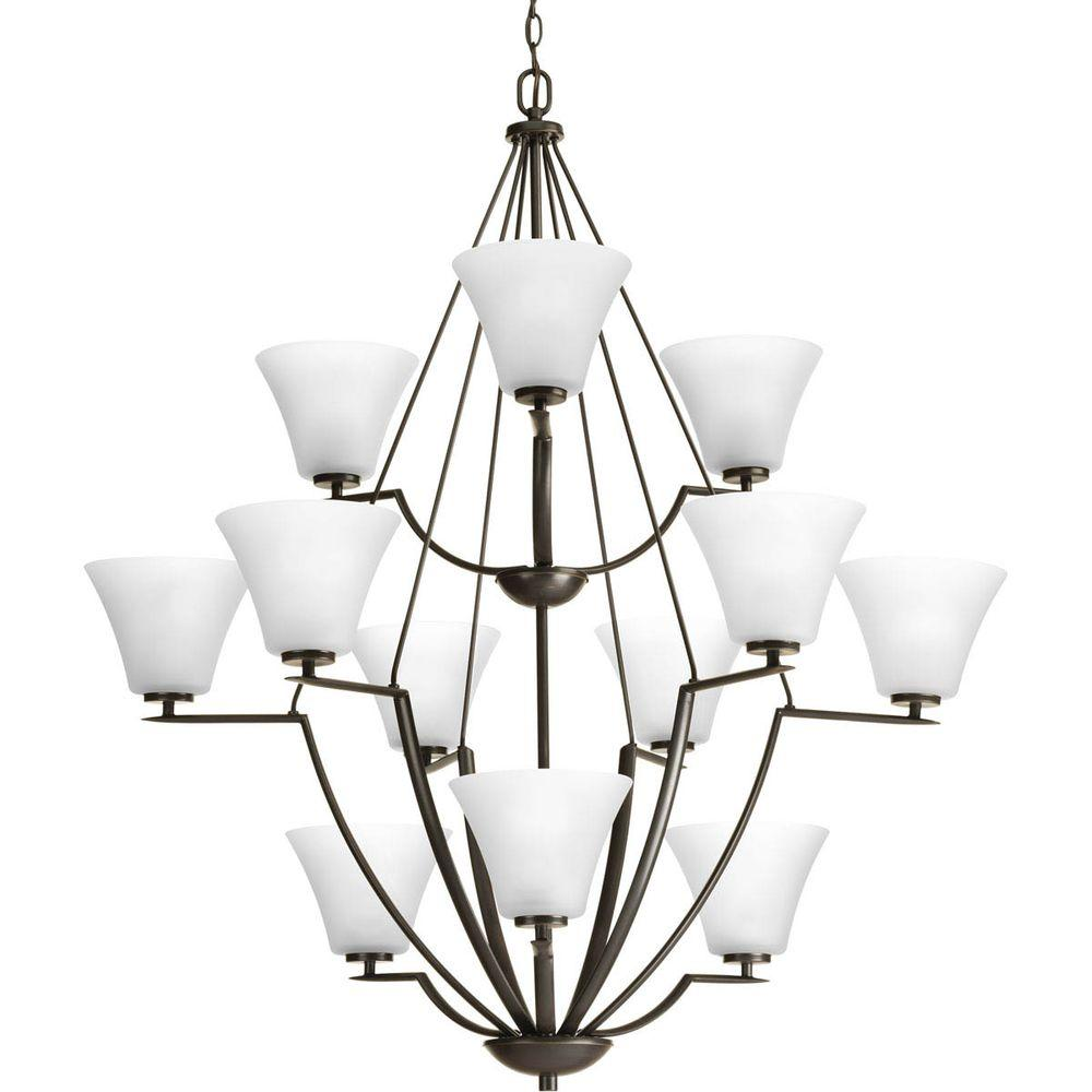 Progress lighting bravo collection 12 light antique bronze progress lighting bravo collection 12 light antique bronze chandelier with white etched glass shade arubaitofo Choice Image