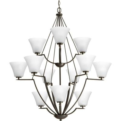 Bravo Collection 12-Light Antique Bronze Chandelier with White Etched Glass Shade