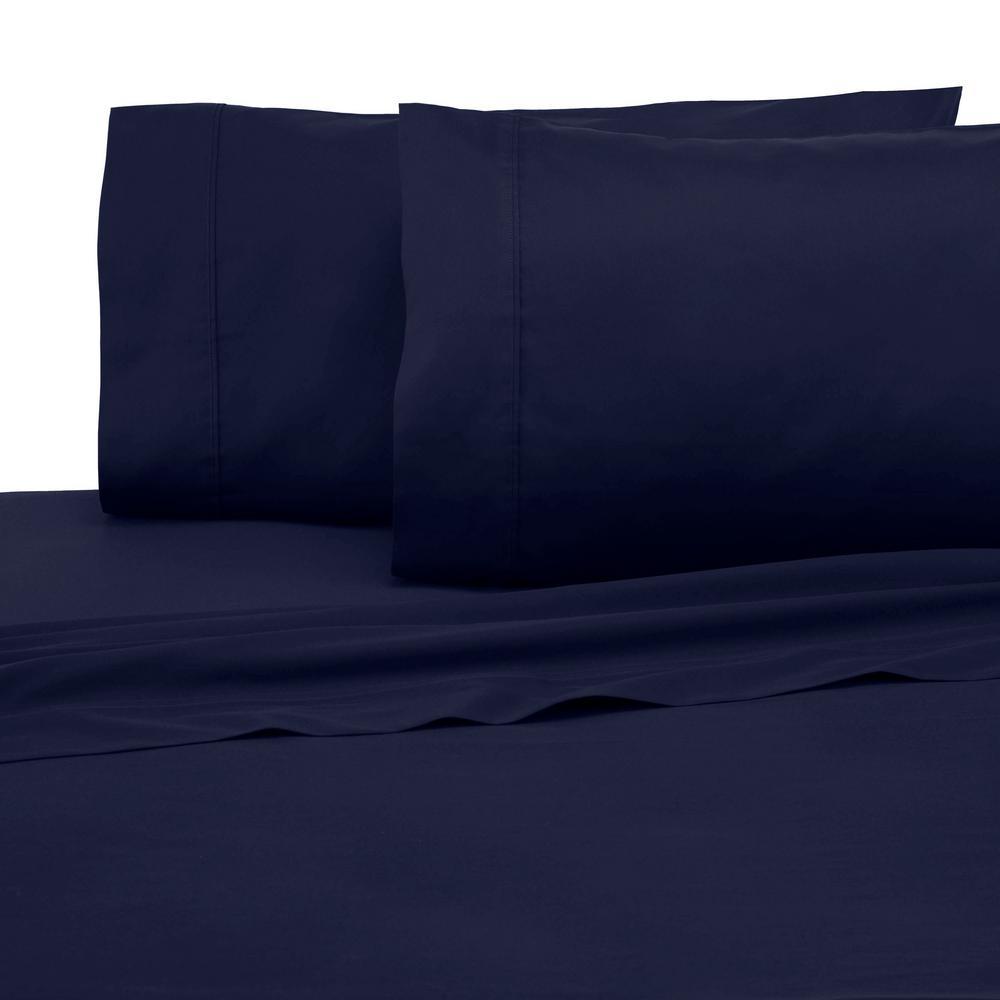 Modern Living Modern Living 3 Piece Evening Blue Solid 300 Thread Count Cotton Twin Sheet Set 028828055521 The Home Depot