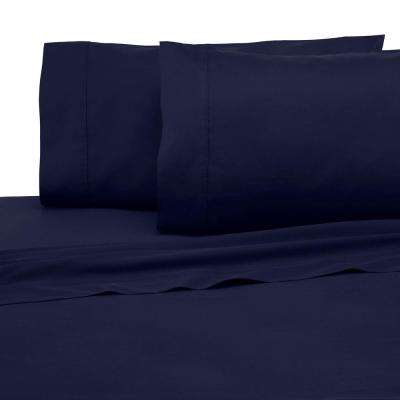 Solid Color T300 3-Piece Dark Denim Cotton Twin XL Sheet Set