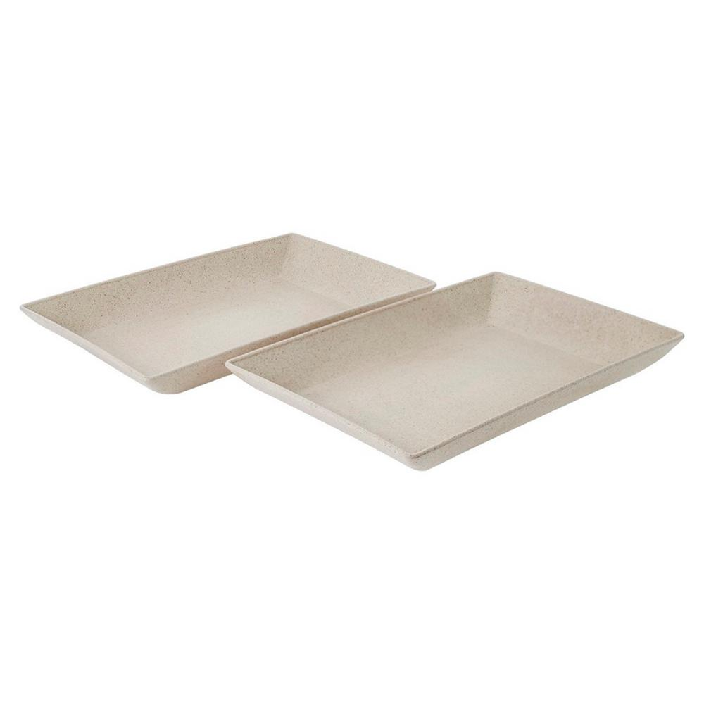 EVO Sustainable Goods White Eco-Friendly Wood-Plastic Composite Serving Dish Set