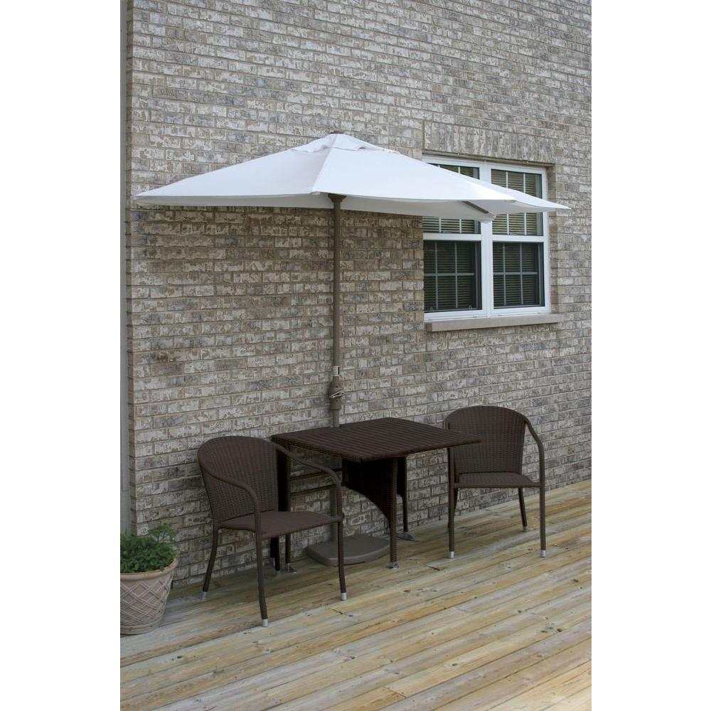 Blue Star Group Terrace Mates Daniella 5-Piece Java Patio Bistro Set with 7.5 ft. Natural Sunbrella Half-Umbrella