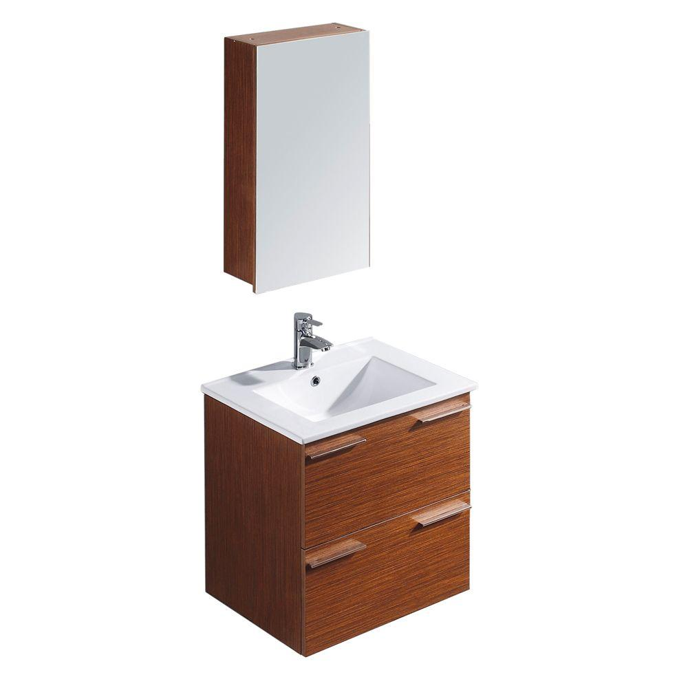 Vigo Ophelia 24 in. Vanity in Wenge with Porcelain Vanity Top in White and Medicine Cabinet