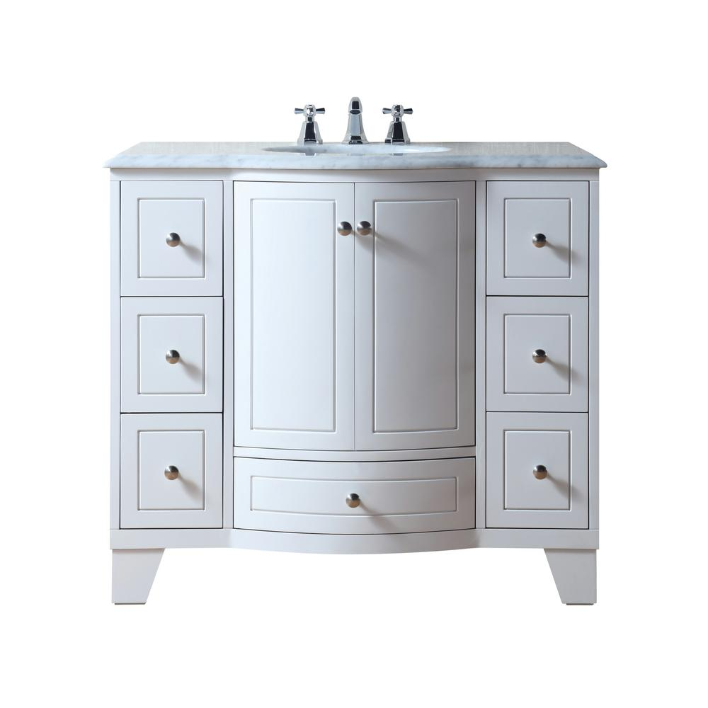stufurhome Grand Cheswick 40 in. Bath Vanity in White with Marble Vanity Top in Carrara White with White Undermount Sink