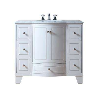 Grand Cheswick 40 in. Bath Vanity in White with Marble Vanity Top in Carrara White with White Undermount Sink
