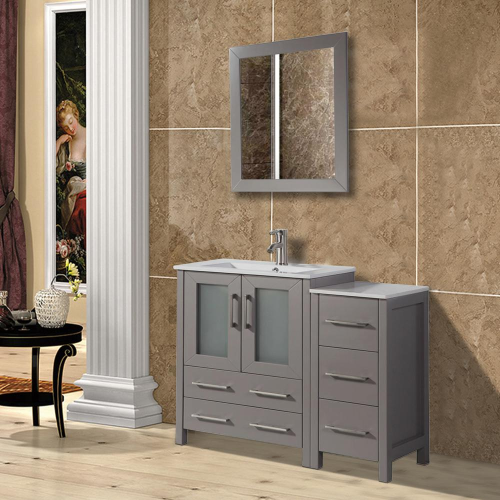Vanity Art Brescia 36 in. W x 18 in. D x 36 in. H Bath Vanity in Grey with Vanity Top in White with White Basin and Mirror