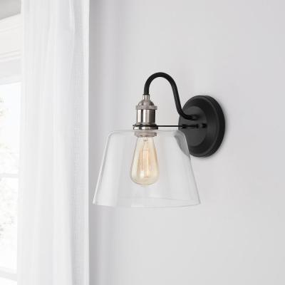 Sherman 9 in. 1-Light Black Wall Sconce with Nickel Accents and Clear Glass