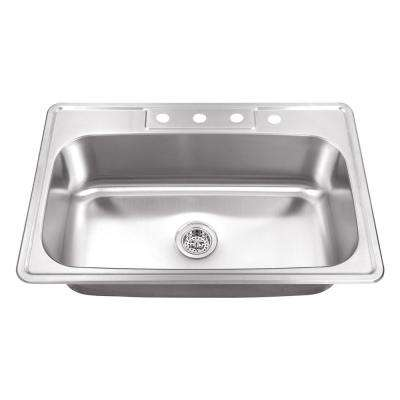 Drop-In Stainless Steel 29.5 in. 4-Hole Single Bowl Kitchen Sink