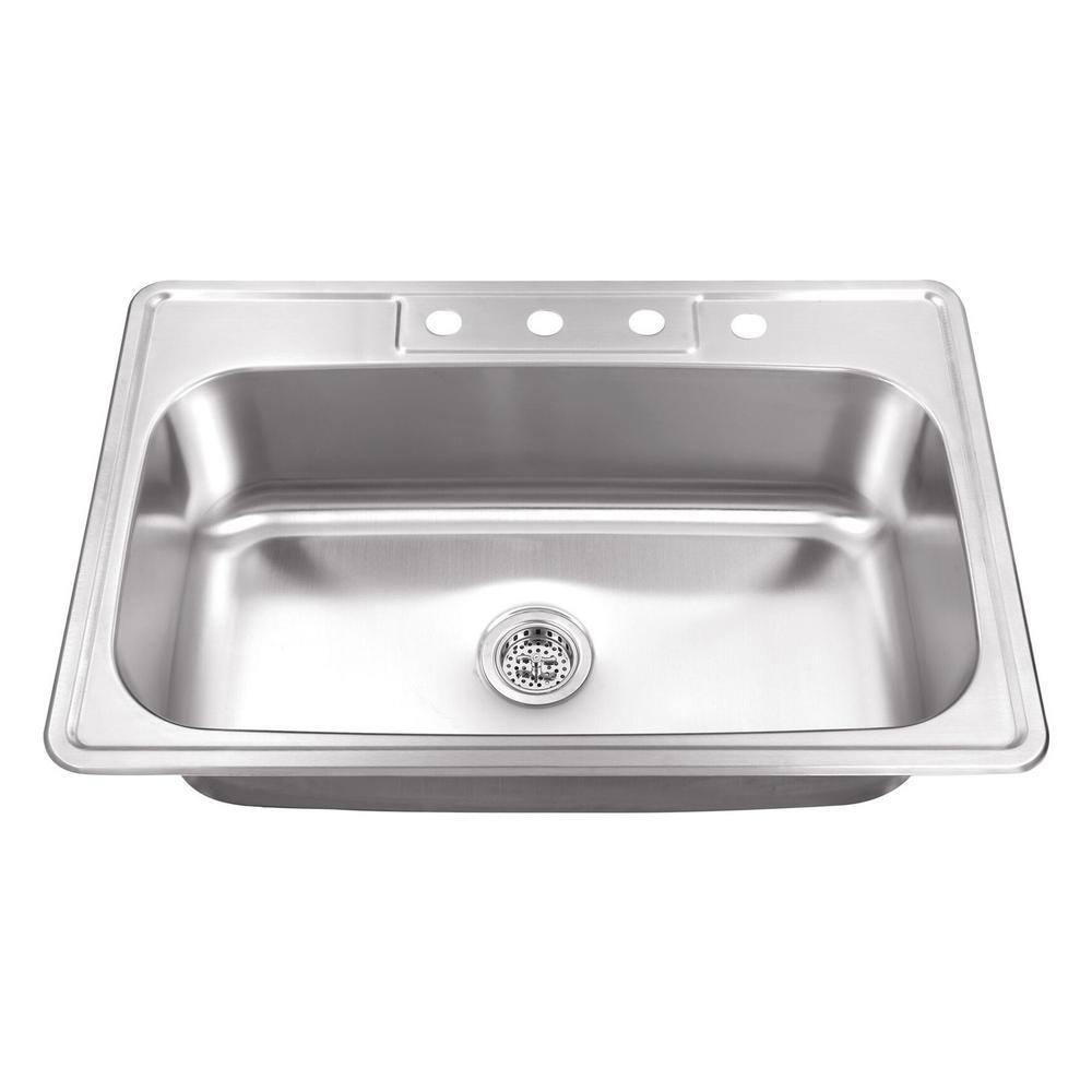 Drop-In Stainless Steel 29.5 in. 4-Hole Single Bowl Kitchen Sink