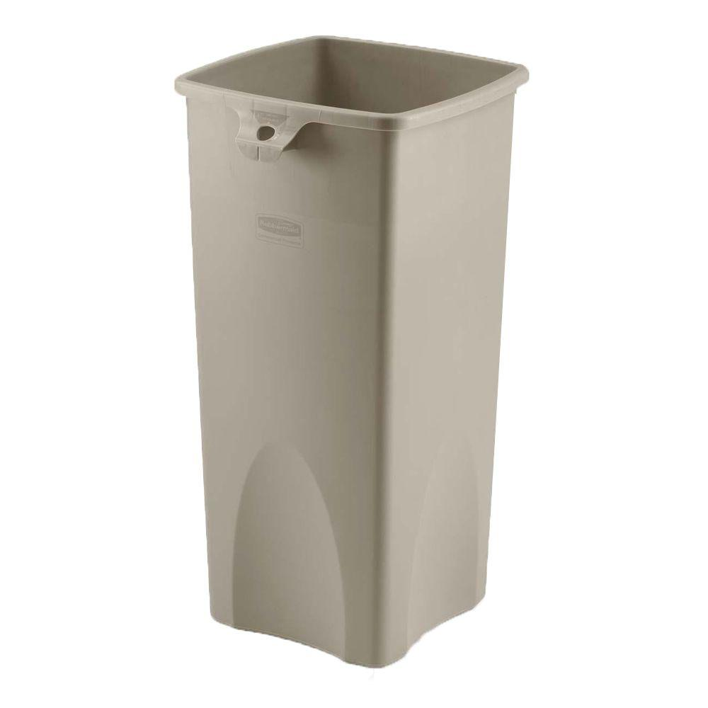 Rubbermaid 23 Gal Beige Square Plastic Trash Can RCP356988BG The