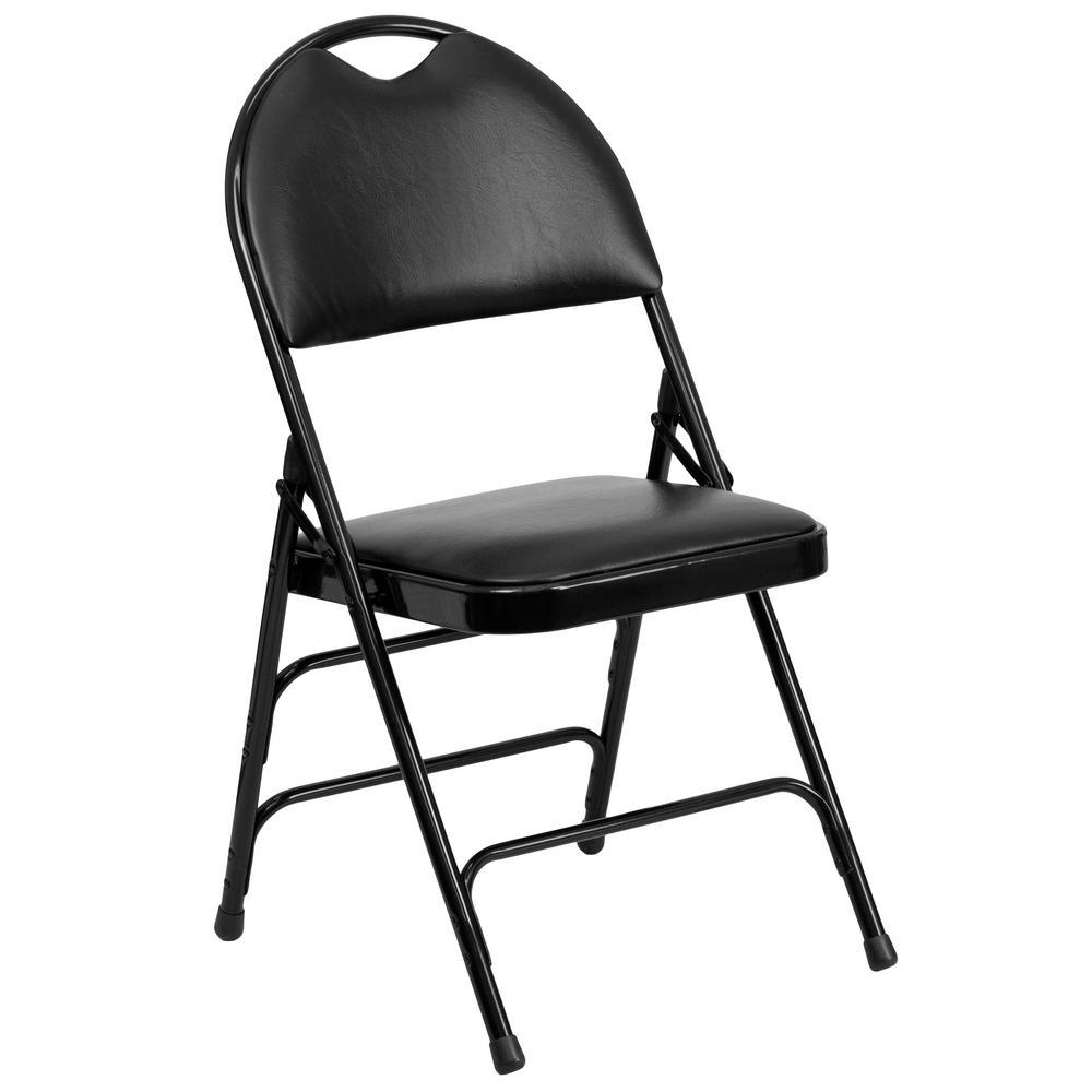 Hercules Series Extra Large Ultra-Premium Triple Braced Black Vinyl Metal Folding Chair with Easy-Carry Handle