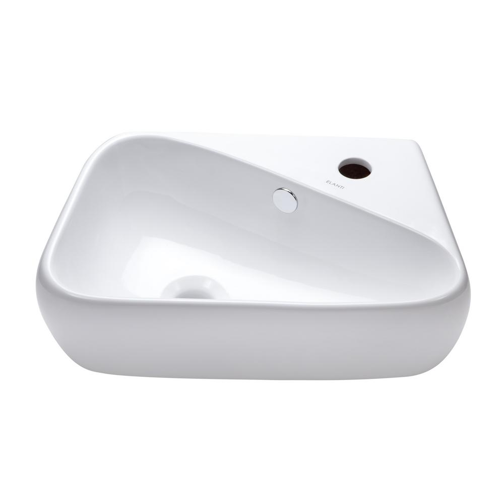 Elanti right facing triangular vessel sink in white ec1602 for Are vessel sinks still in style 2016