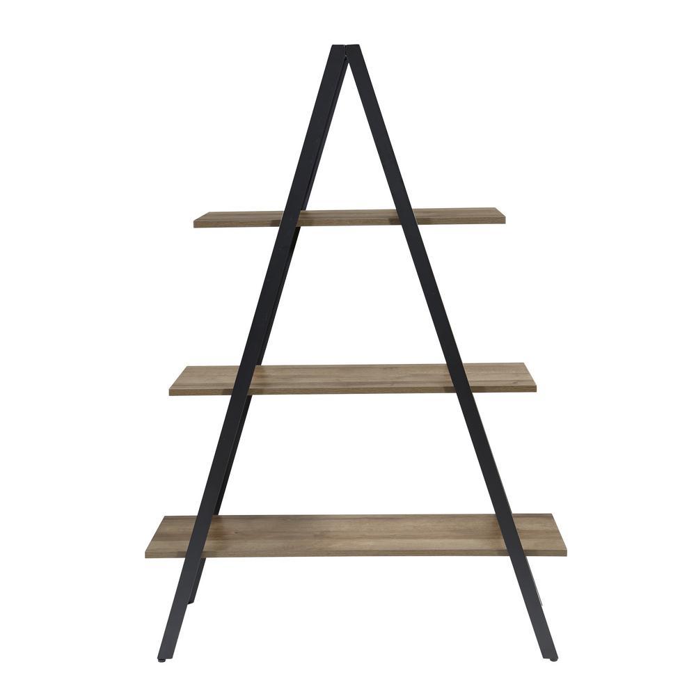60.5 in. Gray Oak Metal 3-shelf Ladder Bookcase with Open Back