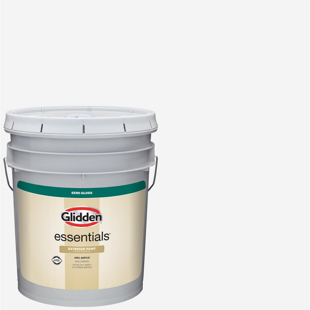 Glidden Essentials 5 Gal White Base 1 Semi Gloss Exterior Paint Gle 7011n 05 The Home Depot