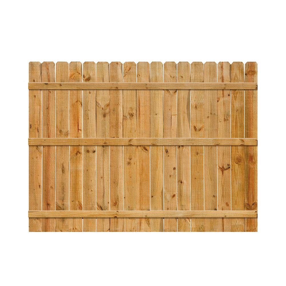 null 6 ft. H x 8 ft. W Cedar Dog-Ear Fence Panel