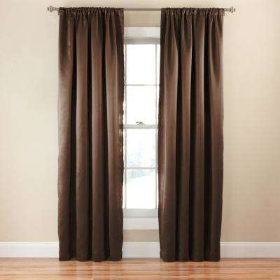 Tricia 63 in. L Polyester Rod Pocket Thermapanel in Espresso (1-Pack)