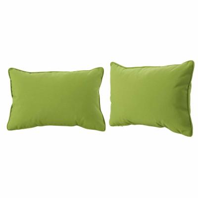 Amaris Green Lumbar Outdoor Throw Pillow (2-Pack)