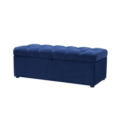 Arlo Tufted Storage Bench Navy Blue