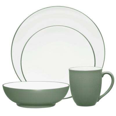 Colorwave Coupe 4-Piece Casual Green Stoneware Dinnerware Set (Service for 1)