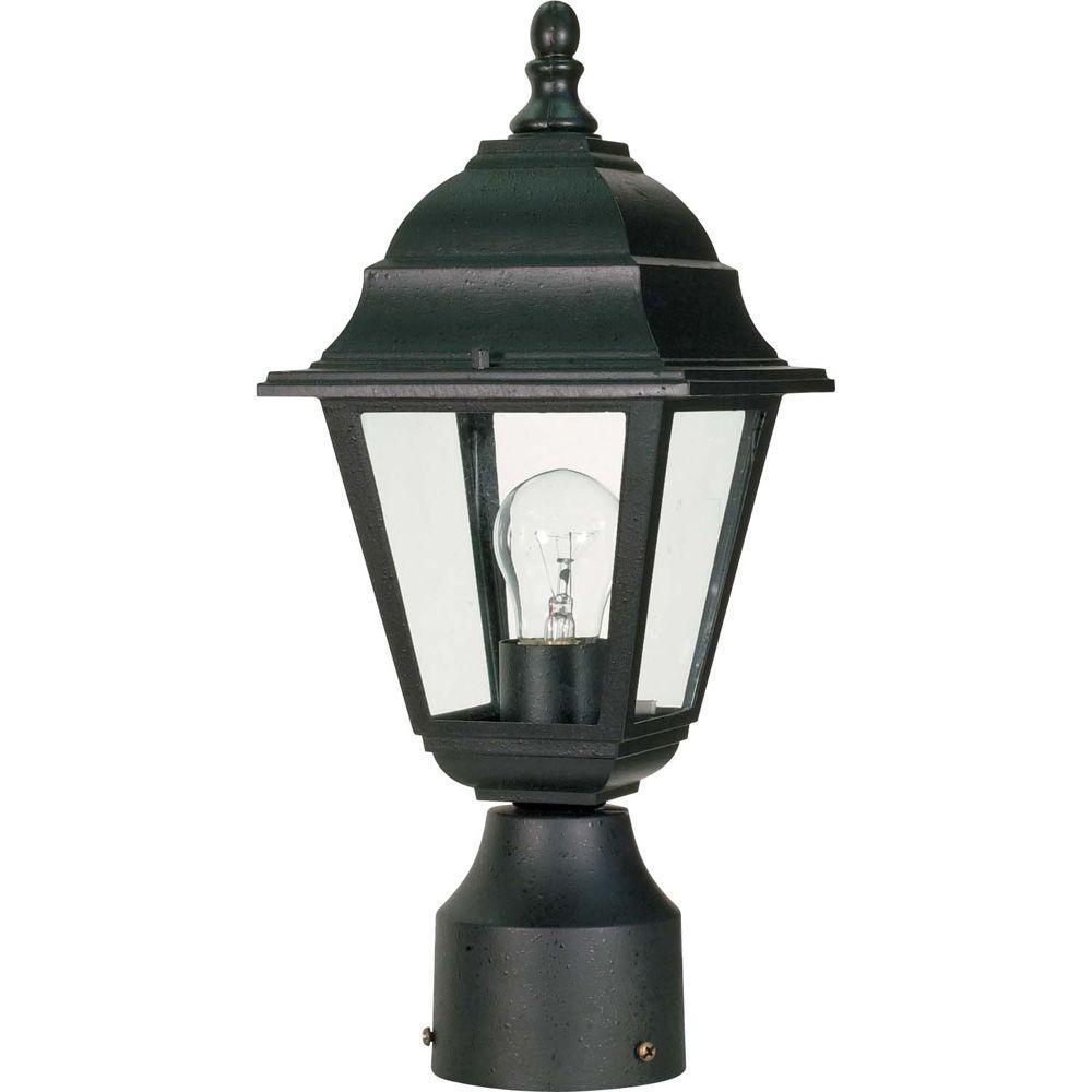1-Light Textured Black Outdoor Incandescent Post Light