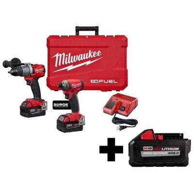 M18 FUEL 18-Volt Lithium-Ion Brushless Cordless Surge Impact/Hammer Drill Combo Kit with Free HIGH OUTPUT 8.0 Ah Battery