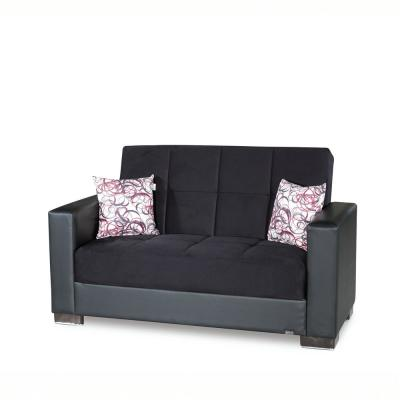 Armada Black Fabric Upholstery Love Seat with Storage