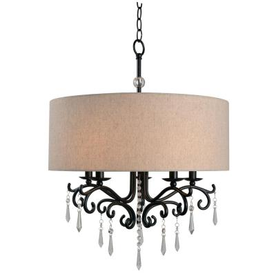 Lucille 5-Light Bronze Chandelier with Cotton Fabric Shade