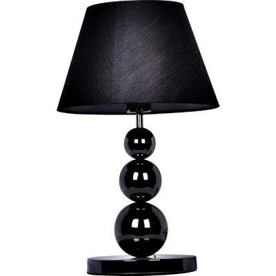 19.29 in. Pearl Black Metal Three Tier Ball Lamp with Fabric Shade