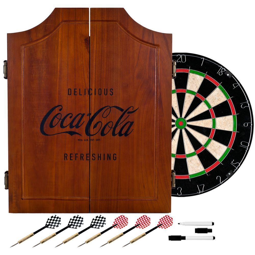 Coca-Cola Wood Finish Dart Cabinet Set