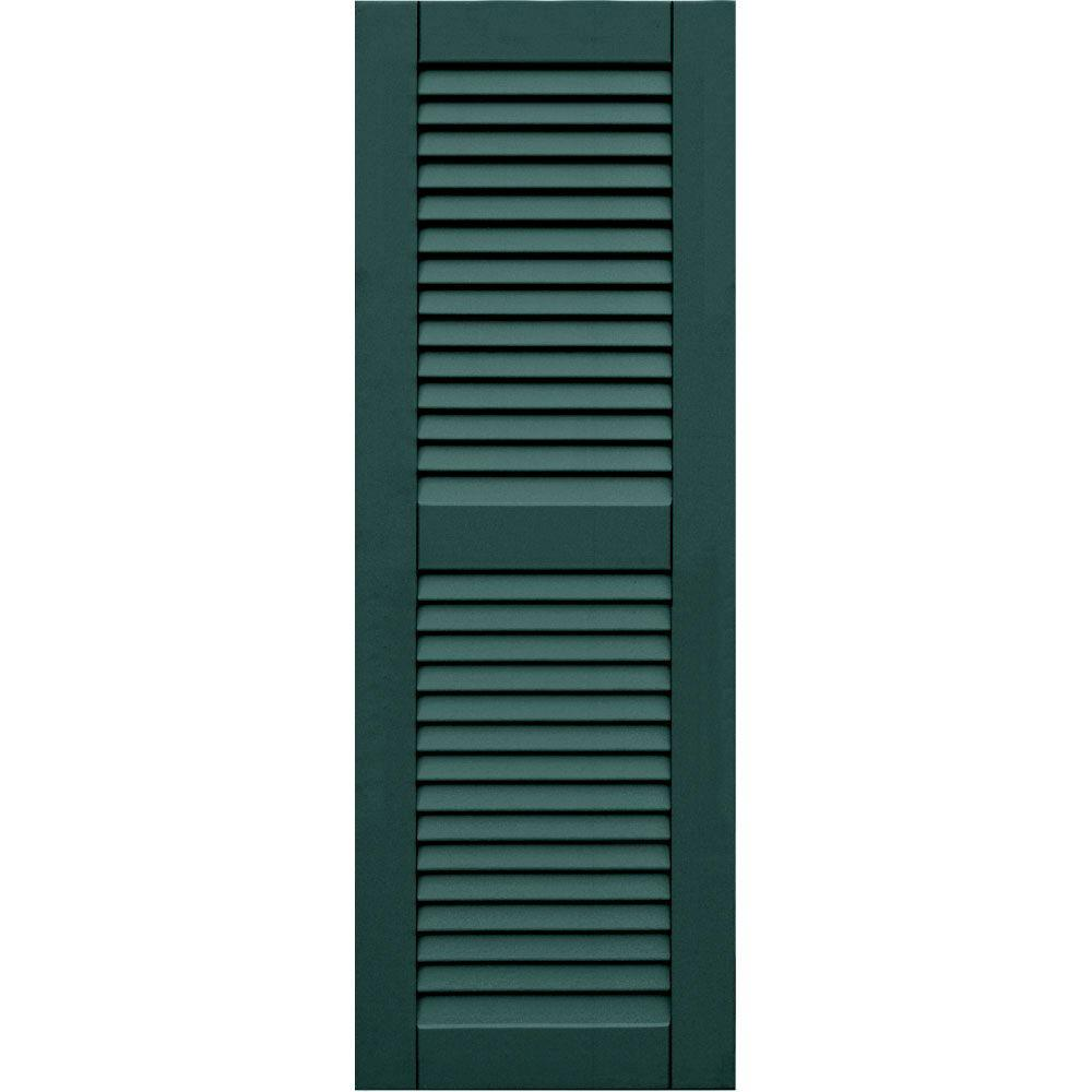 Winworks Wood Composite 15 in. x 43 in. Louvered Shutters Pair #633 Forest Green