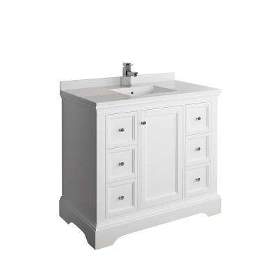 Windsor 40 in. W Traditional Bathroom Vanity in Matte White with Quartz Stone Vanity Top in White with White Basin