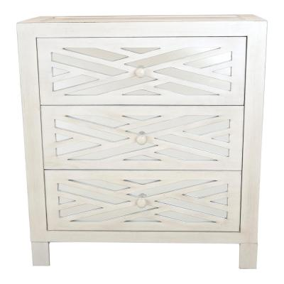 Trellis White Mirrored 3-Drawer Chest