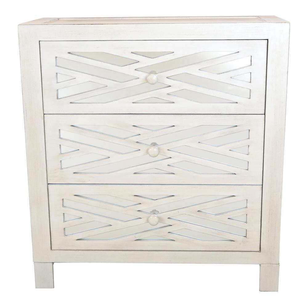 Trellis White Mirrored 3-Drawer Chest