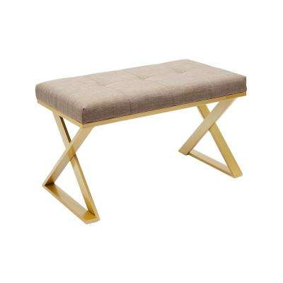 Tatum Gold Upholstered Rectangular Vanity Bench