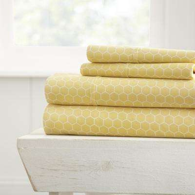 Honeycomb Patterned 4-Piece Yellow Queen Performance Bed Sheet Set