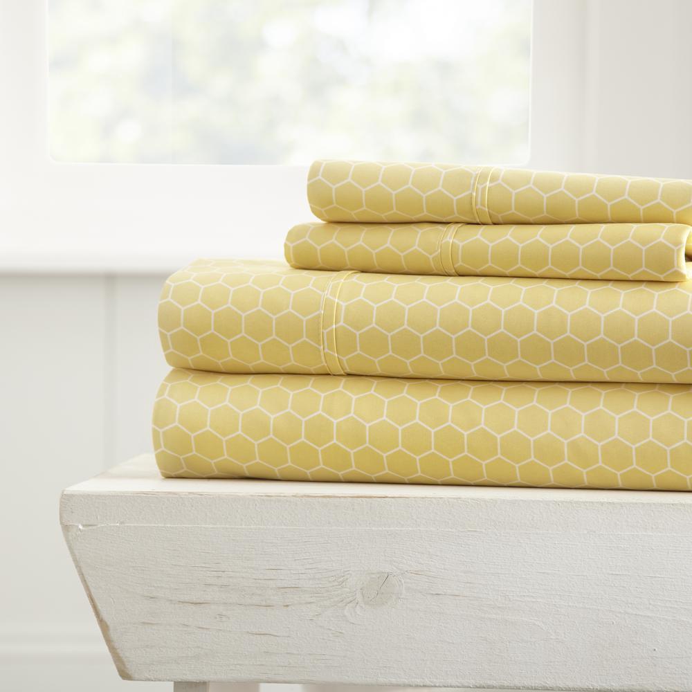 Home Collection 4-Piece Yellow Geometric Microfiber Twin Sheet Set