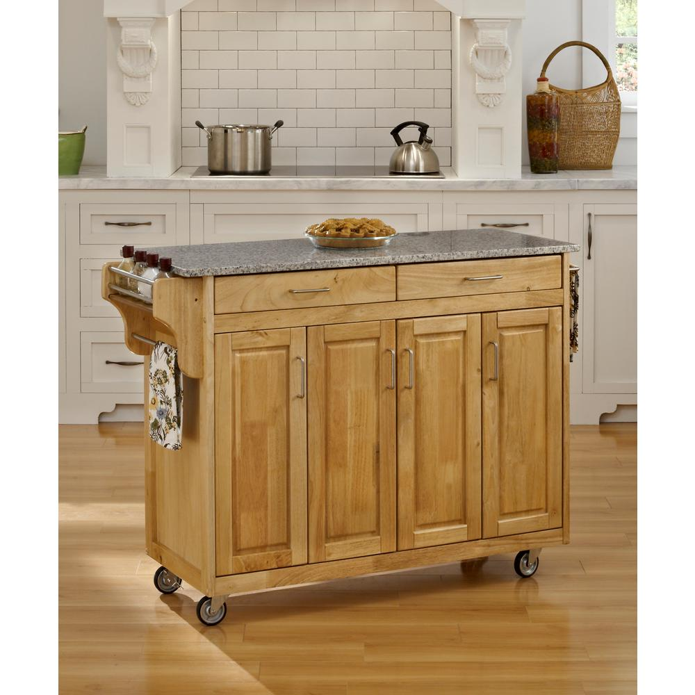 Create-a-Cart Natural Kitchen Cart With Salt and Pepper Granite Top