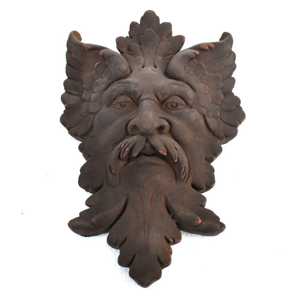 null Cast Stone Michelangelo Leaf Mask Plaque Dark Walnut