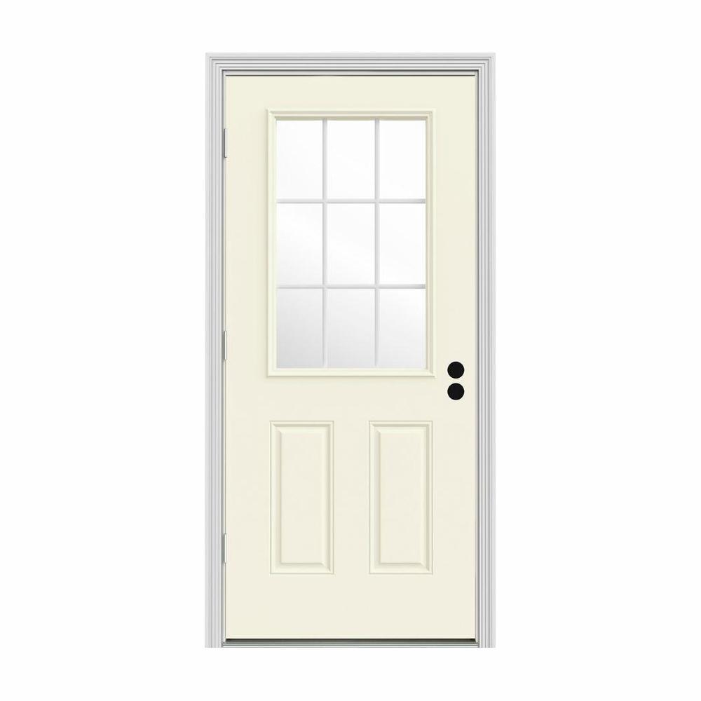 JELD-WEN 30 in. x 80 in. 9 Lite Vanilla Painted Steel Prehung Right-Hand Outswing Front Door w/Brickmould