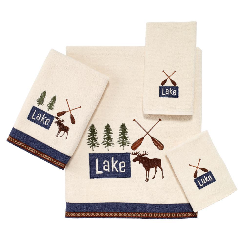 Lakeville 4-Piece Ivory Geometric Bath Towel Set