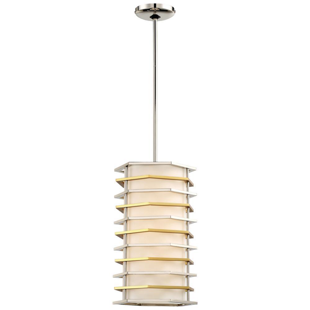 Levels 100-Watt Equivalence Integrated LED Polished Nickel with Honey Gold Pendant