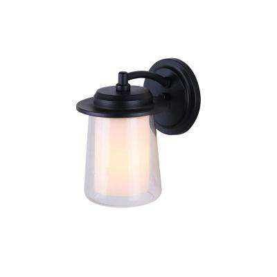 Montague 1-Light Black Outdoor Wall Light with Seeded and Opal Glass