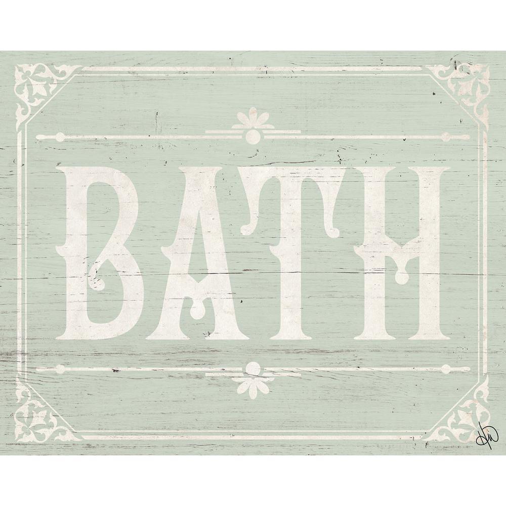 "20 in. x 24 in. ""Rustic Bath Green"" Planked Wood Wall Art Print"