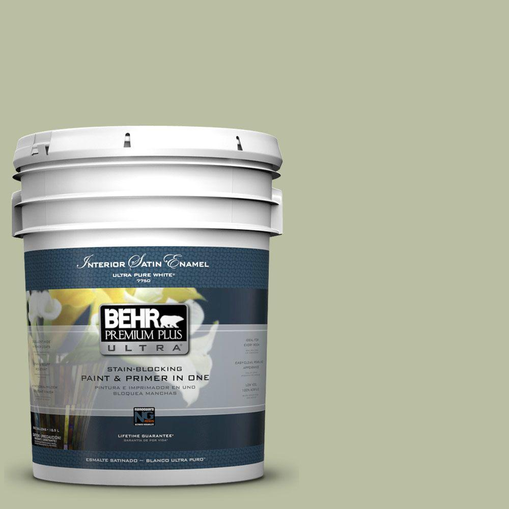 BEHR Premium Plus Ultra 5-gal. #ICC-57 Dried Thyme Satin Enamel Interior Paint